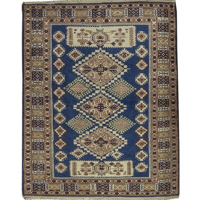 Semi-Antique Turkish Kazak Hand Woven Wool Blue Area Rug