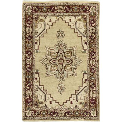 One-of-a-Kind Templeton Traditional Wool Cream/Red Area Rug