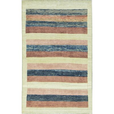 One-of-a-Kind Afghan Gabbeh Hand Woven Wool Cream/Blue/Brown Area Rug
