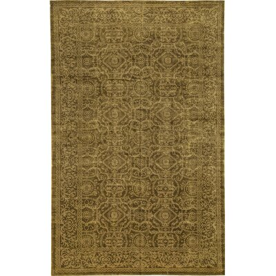 One-of-a-Kind Himalayan Art Ancient Hand-Knotted Wool Gold Area Rug