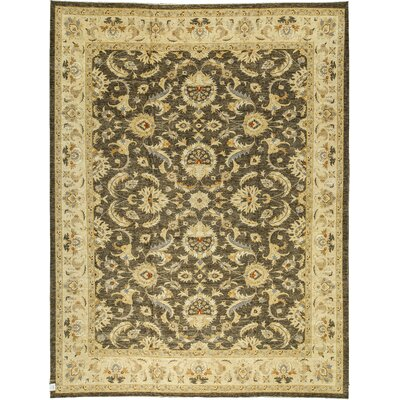 One-of-a-Kind Zarbof Hand-Woven Wool Brown/Cream Area Rug
