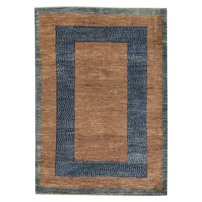 One-of-a-Kind Gabbeh Midnight Border Hand Woven Wool Blue/Brown Area Rug