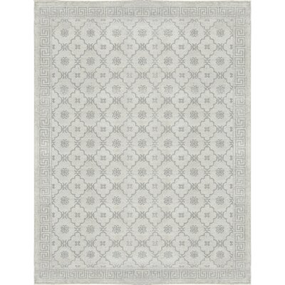 One-of-a-Kind Modern Hand-Woven Silver Area Rug