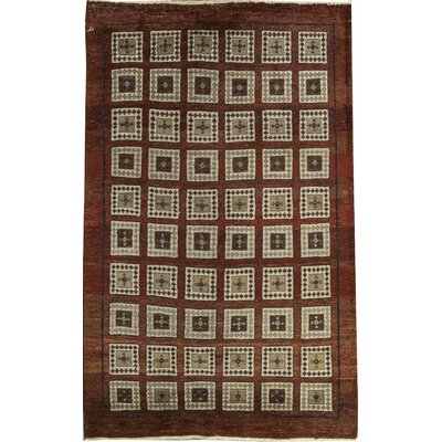 One-of-a-Kind Afghan Square Symmetrical Hand Woven Wool Rustic Brown Area Rug