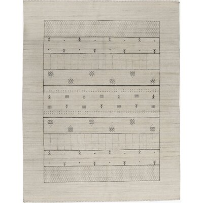 One-of-a-Kind Gabbeh Hand-Woven Wool Beige Area Rug