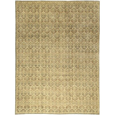 One-of-a-Kind Ziegler Hand-Woven Wool Light Green/Beige Area Rug