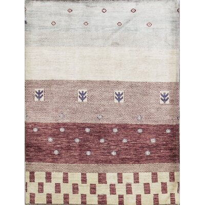 One-of-a-Kind Gabbeh Hand Woven Wool Natural Area Rug