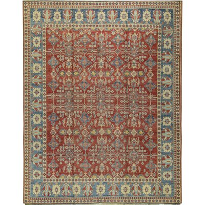 One-of-a-Kind Shirvan Coll Hand-Woven Wool Red/Blue Area Rug