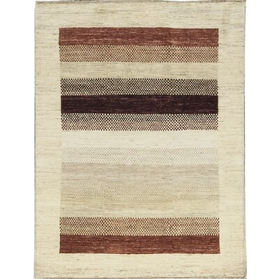 One-of-a-Kind Gabbeh Polka Dot Stripe Hand Woven Wool Cream/Brown/Red Area Rug Size: Rectangle 41 x 66