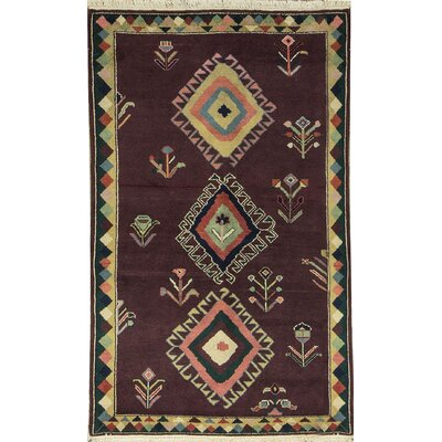 Indian Hand Woven Wool Brown Area Rug