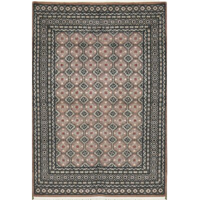 One-of-a-Kind Gabbeh Border Hand Woven Wool Gray/Ivory Area Rug