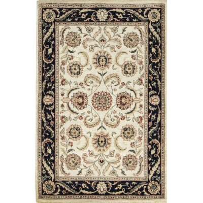 One-of-a-Kind Afghan Gabbeh Hand Woven Wool Ivory/Navy Area Rug