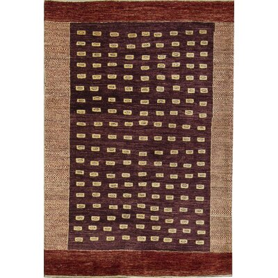 One-of-a-Kind Gabbeh Organized Pebbles Hand Woven Wool Brown Area Rug