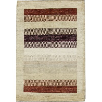 One-of-a-Kind Gabbeh Stripes Hand Woven Wool Cream/Brown Area Rug