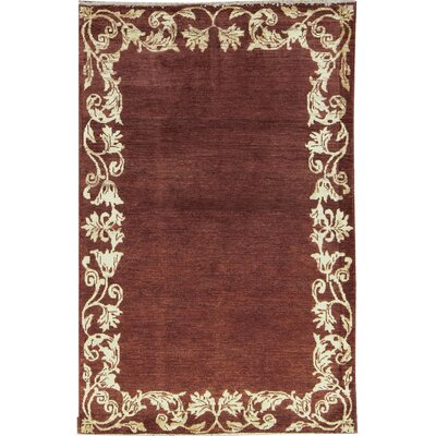 One-of-a-Kind Afghan Gabbeh Hand Woven Wool Rustic Brown Area Rug
