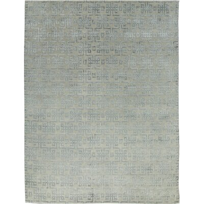 One-of-a-Kind Himalayan Art Maze Hand-Woven Gray/Light Blue Area Rug