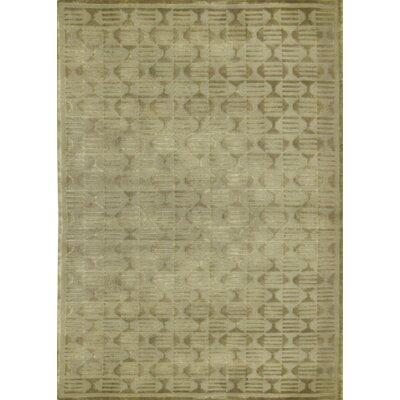 One-of-a-Kind Indian Hand-Woven Wool Light Green Area Rug