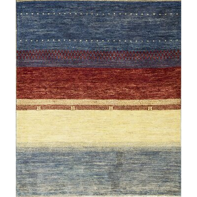 Gabbeh Hand Woven Wool Yellow/Blue Area Rug