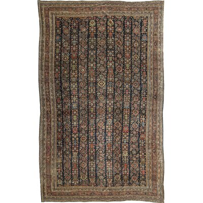 One-of-a-Kind Antique Persian Hand-Woven Wool Brown Area Rug