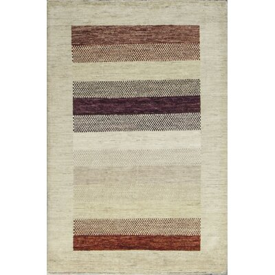 One-of-a-Kind Gabbeh Accent Stripe Hand Woven Wool Lavender Area Rug
