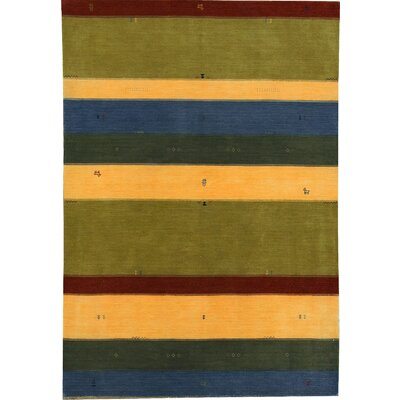 Gabbeh Hand Woven Wool Green/Gold Area Rug
