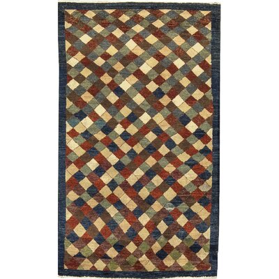 One-of-a-Kind Afghan Gabbeh Hand Woven Wool Black/Red Area Rug