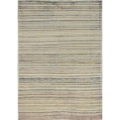 One-of-a-Kind Multi Horizontal Wool Light Gray Area Rug