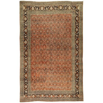 One-of-a-Kind Fine Persian Diamond Floral Spread Hand-Woven Wool Rust/Ivory Area Rug