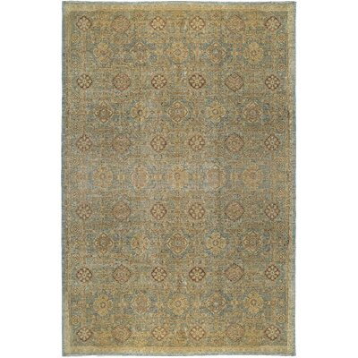One-of-a-Kind Ziegler 2000 Maze Hand-Woven Wool Gold/Light Blue Area Rug