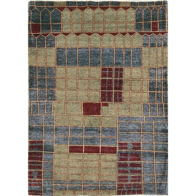 One-of-a-Kind Zarbof Quality Tetris Hand Woven Wool Ivory/Blue Area Rug