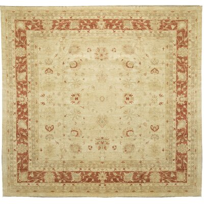 One-of-a-Kind Ziegler 2000 Rust Vines Hand-Woven Wool Beige Area Rug