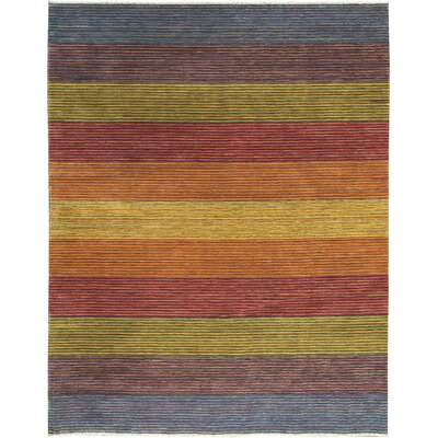One-of-a-Kind Gabbeh Hand-Woven Wool Red/Yellow/Blue Area Rug
