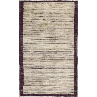 One-of-a-Kind Afghan Gabbeh Hand Woven Wool Beige/Bokara Area Rug