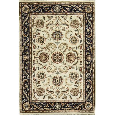 One-of-a-Kind Afghan Gabbeh Hand Woven Wool Ivory/Blue Area Rug