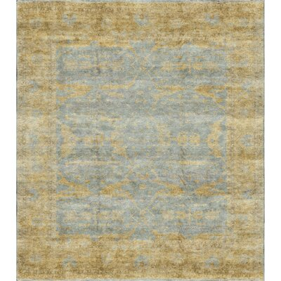 One-of-a-Kind Demirji Oushak Ancient Hand-Woven Wool Gold/Light Blue Area Rug