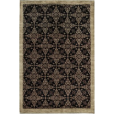 One-of-a-Kind Gabbeh Stars Hand Woven Wool Midnight Area Rug