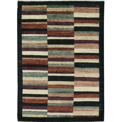 One-of-a-Kind Gabbeh Broken Stripes Hand Woven Wool Black/Brown Area Rug