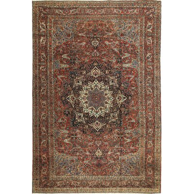 One-of-a-Kind Persian Lotus Hand-Woven Wool Red/Blue Area Rug