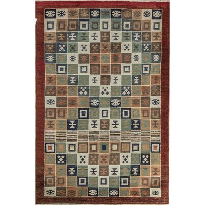 One-of-a-Kind Afghan Diamond Gabbeh Hand Woven Wool Light Brown Area Rug