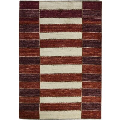 One-of-a-Kind Gabbeh Grid Stripe Hand Woven Wool Red/Cream Area Rug