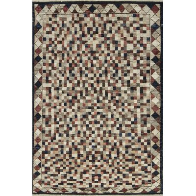 One-of-a-Kind Afghan Gabbeh Puzzled Hand Woven Wool Black/Beige Area Rug
