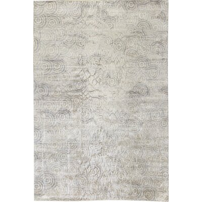 One-of-a-Kind Vintage Maze Hand-Knotted Beige Area Rug