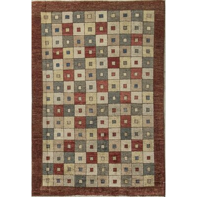 One-of-a-Kind Zarbof Quality Squares Hand Woven Wool Rustic Brown Area Rug