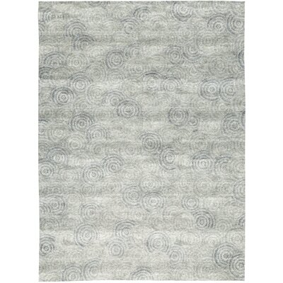 One-of-a-Kind Himalayan Art Swirl Hand-Woven Gray Area Rug
