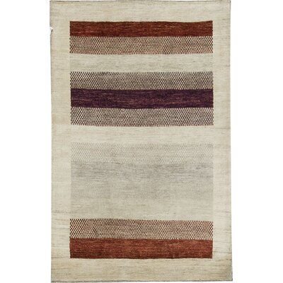 One-of-a-Kind Gabbeh Polka Dot Stripe Hand Woven Wool Cream/Dark Brown Area Rug