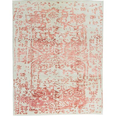 One-of-a-Kind Modern Hand-Woven Ivory/Red Area Rug