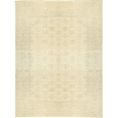 One-of-a-Kind Sultanabad Hand-Woven Wool Cream/Gold Area Rug