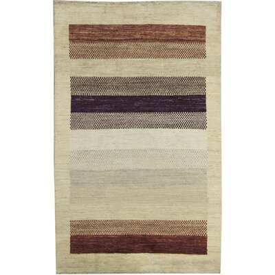 One-of-a-Kind Gabbeh Polka Dot Stripe Hand Woven Wool Cream/Brown/Red Area Rug Size: Rectangle 42 x 64