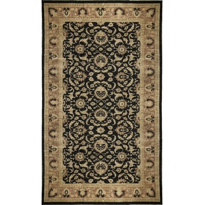 One-of-a-Kind Zarbof Vine Hand-Woven Wool Black/Cream Area Rug