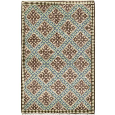 Semi-Antique Romania Hand Woven Wool Brown/Green Area Rug